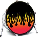 custom drum heads stage graphics band merch vintage logos. Black Bedroom Furniture Sets. Home Design Ideas